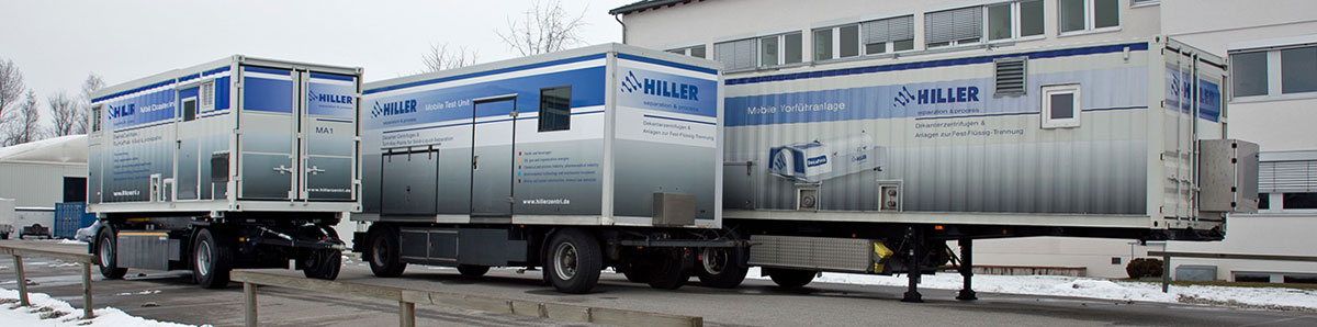 Hiller's mobile decanter plants for rental and trials
